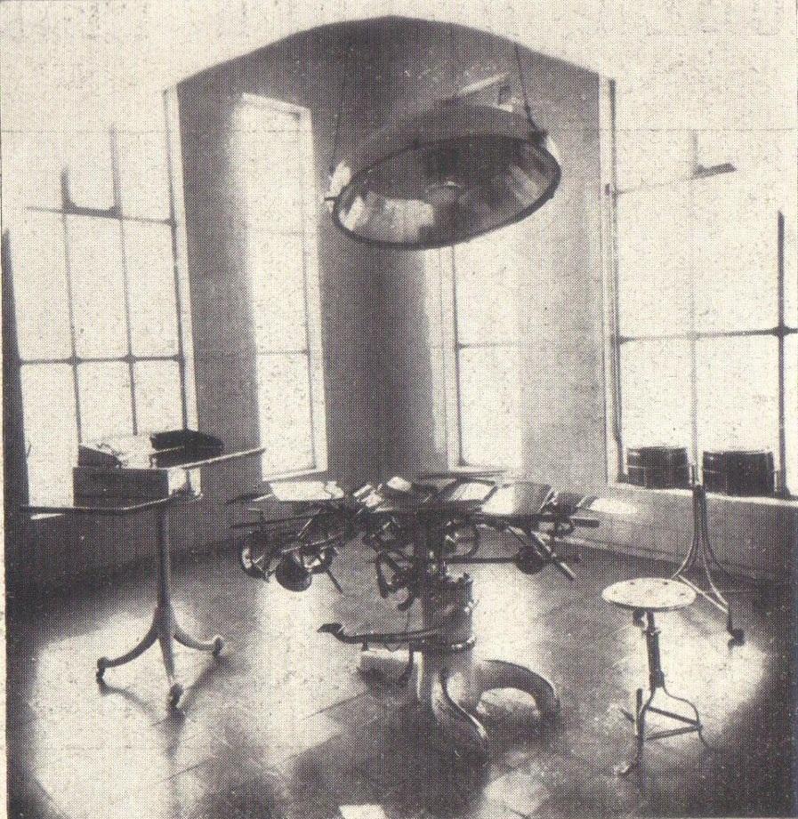 Hospital Beneficiência Portuguesa - sala cirúrgica, em 1926. Acervo Álbum de Propagandas de Campinas