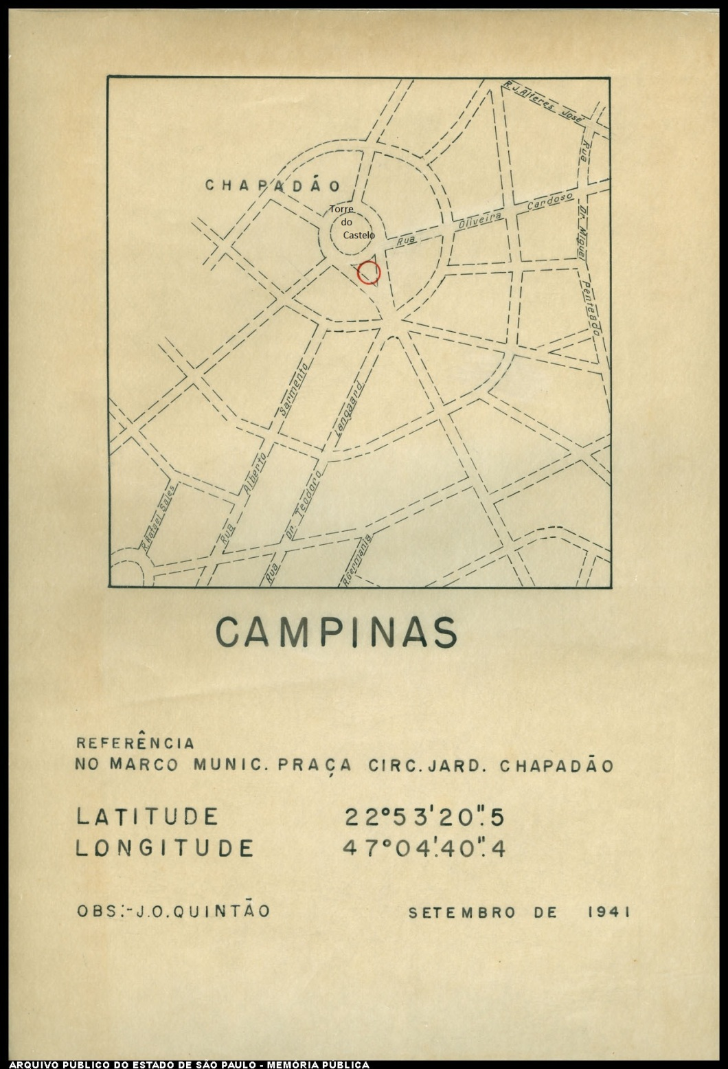 Torre do Castelo, mapa de 1941.