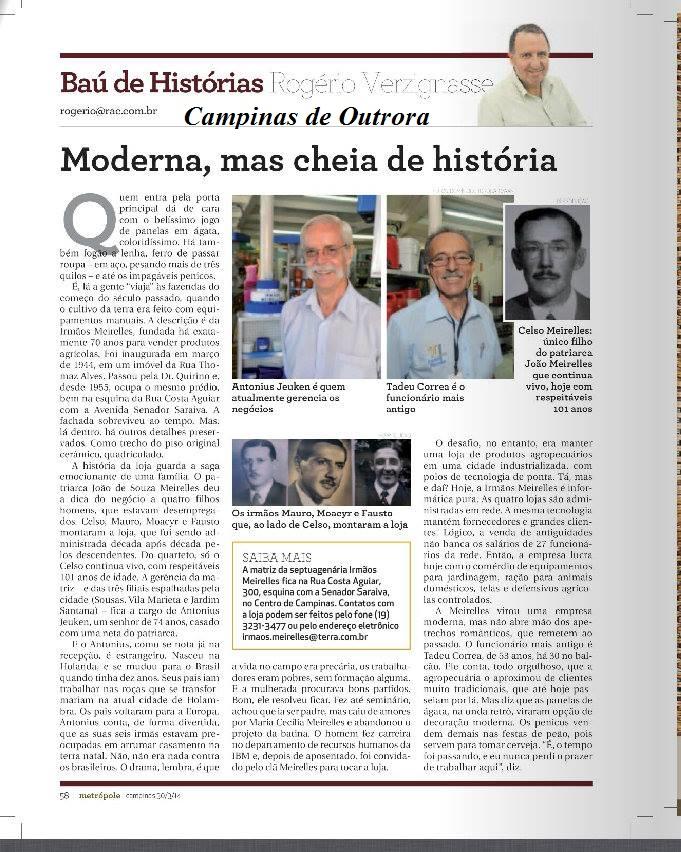 Coluna Bau de Histórias 'Irmãos Meirelles'.