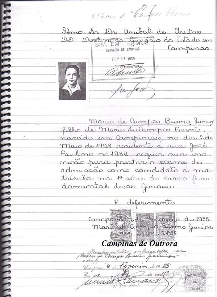 Mário de Campos Bueno Jr. - Exame de Admissão.