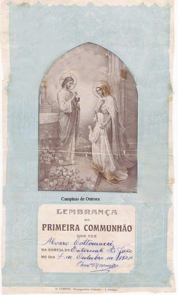 Lembrança da Primeira Comunhão de Álvaro Cotomacci.