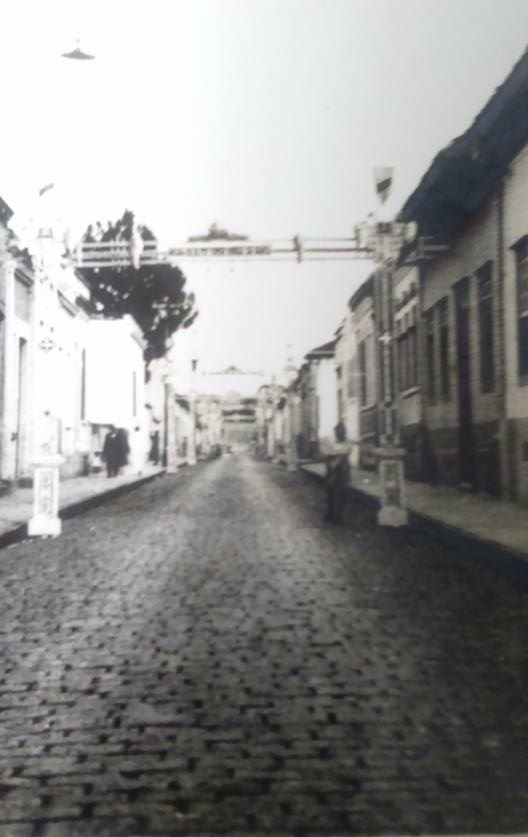 """Rua Regente Feijó, em 1942. Acervo """"Rodolpho Mancini""""."""